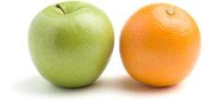 Não confunda laranjas com  maçãs