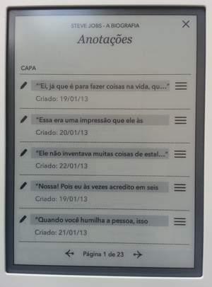 kobo - indice de anotações