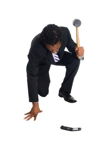 businessman - phone smash