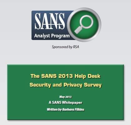 sans 2013 help desk survey