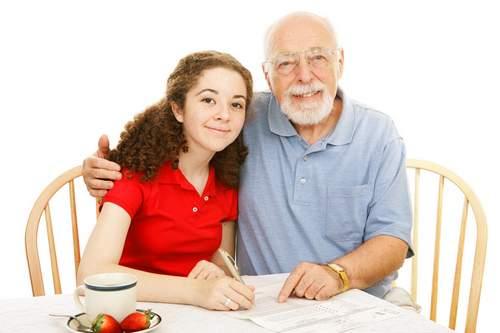Grandfather Helping Teen